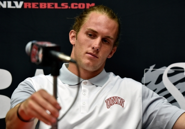 UNLV  quarterback Blake Decker adjusts his microphone before a pre-game news conference at UNLV on Tuesday, Sept. 1, 2015. UNLV travels to Northern Illinois for their season opener on Saturday. Da ...