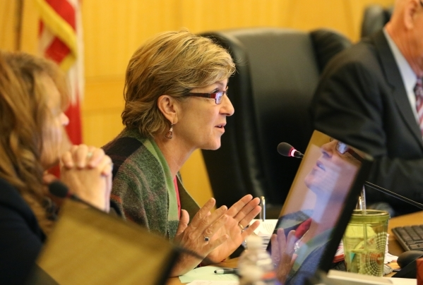 Commissioner Chris Giunchigliani asks questions during a public hearing for More Cops sales tax at of a County Commission meeting at the commission chambers Tuesday, Sept. 1, 2015, in Las Vegas. R ...