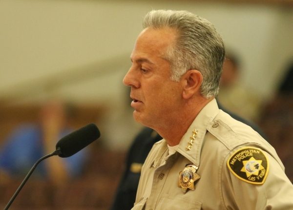 Clark County Sheriff Joseph Lombardo speaks during a public hearing for More Cops sales tax at of a County Commission meeting at the commission chambers Tuesday, Sept. 1, 2015, in Las Vegas. Ronda ...