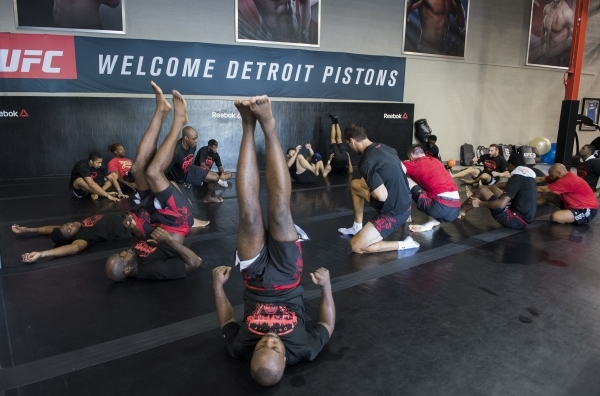 NBA basketball players from the Detroit Pistons prepare to train with UFC fighters at the UFC gym in Las Vegas on Wednesday, Sept. 2, 2015. (Martin S. Fuentes/Las Vegas Review-Journal)