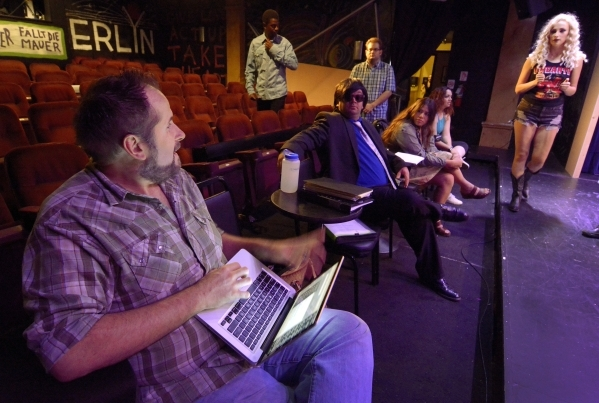 """Director Troy Heard, left, is shown with cast and crew members at a rehearsal for """"Showgirls: The Musical"""" at the Onyx Theatre at 953 E. Sahara Ave. in Las Vegas on Wednesday, Sept. 2, 2 ..."""