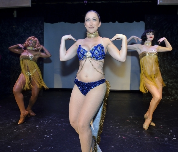 "Amanda Kraft, center, Socorro Jones, left, and Claudia Cervenka rehearse for ""Showgirls: The Musical"" at the Onyx Theatre at 953 E. Sahara Ave. in Las Vegas on Wednesday, Sept. 2, 2015.  ..."