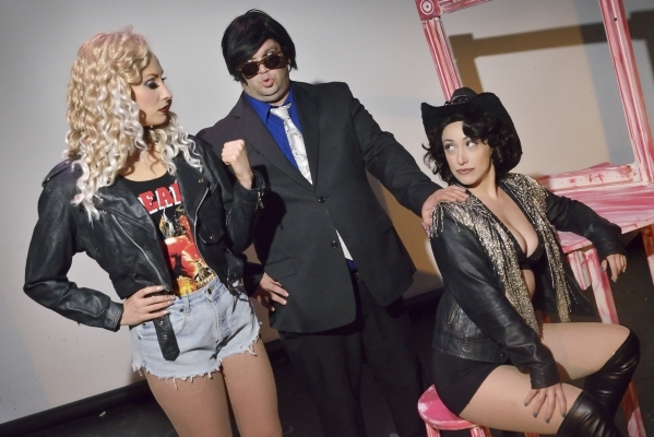 """Kady Heard, left, Anthony Turchiano, center, and Amanda Kraft rehearse for """"Showgirls: The Musical"""" at the Onyx Theatre at 953 E. Sahara Ave. in Las Vegas on Wednesday, Sept. 2, 2015. Bi ..."""