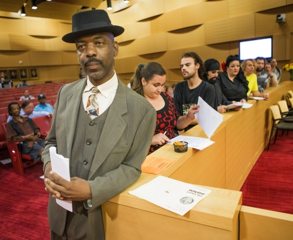 Ventriloquist  Scarlet Ray Watt and other street performers wait to speak during the Fremont Street ordinance hearing at Las Vegas City Council on Wednesday, Sept. 02, 2015. JEFF SCHEID/LAS VEGAS  ...