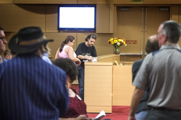 Street performers and concern citizens stand in line to pick up an agenda during a hearing at Las Vegas City Council on Wednesday, Sept. 02, 2015.   JEFF SCHEID/LAS VEGAS REVIEW-JOURNAL Follow him ...