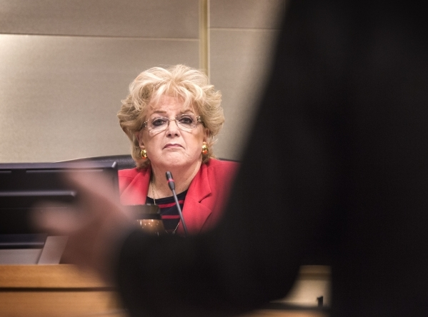 Mayor Carolyn Goodman listens while City Attorney Brad Jerbic speaks during an Fremont Street ordinance hearing at Las Vegas City Council on Wednesday, Sept. 02, 2015. JEFF SCHEID/LAS VEGAS REVIEW ...