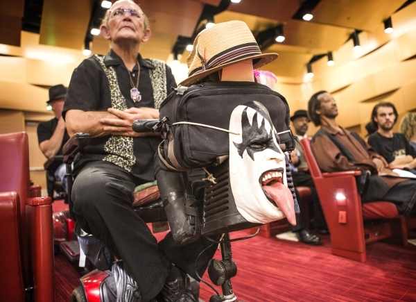 Street performer Gary Downe, who impersonates Gene Simmons of Kiss, listens during an Fremont Street ordinance hearing at Las Vegas City Council on Wednesday, Sept. 02, 2015. JEFF SCHEID/LAS VEGAS ...