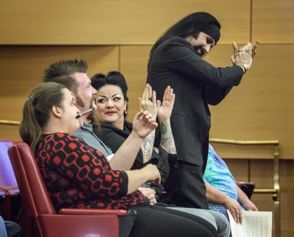 Street performers chear during the Fremont Street ordinance hearing at Las Vegas City Council on Wednesday, Sept. 02, 2015. JEFF SCHEID/LAS VEGAS REVIEW-JOURNAL Follow him @jlscheid