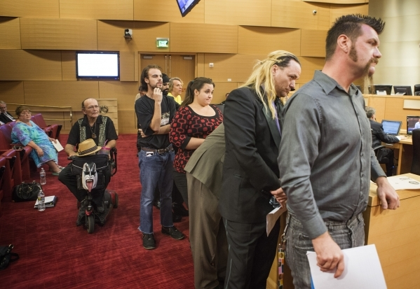 Street performers stand in line to speak during the  Fremont Street ordinance hearing at Las Vegas City Council on Wednesday, Sept. 02, 2015. JEFF SCHEID/LAS VEGAS REVIEW-JOURNAL Follow him @jlscheid