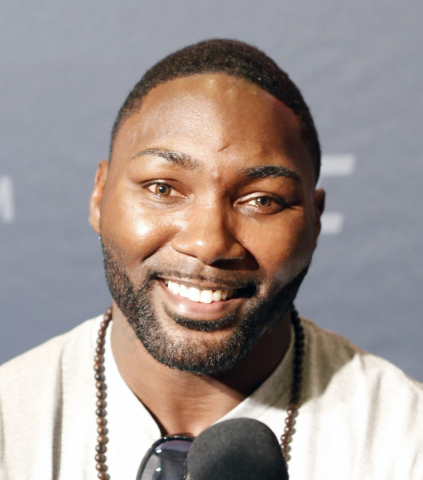 Anthony Johnson, UFC light heavyweight contender, addresses the media during UFC 191 Ultimate media day at MGM Grand hotel-casino in Las Vegas on Thursday, Sep. 3, 2015. BIZUAYEHU TESFAYE/LAS VEGA ...