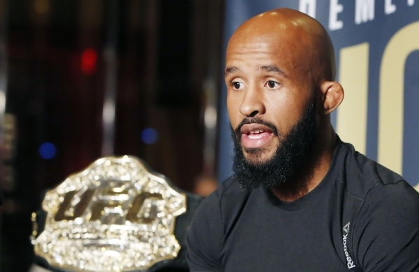 Demetrious Johnson, UFC flyweight champion, addresses the media during UFC 191 Ultimate media day at MGM Grand hotel-casino in Las Vegas on Thursday, Sep. 3, 2015. BIZUAYEHU TESFAYE/LAS VEGAS REVI ...