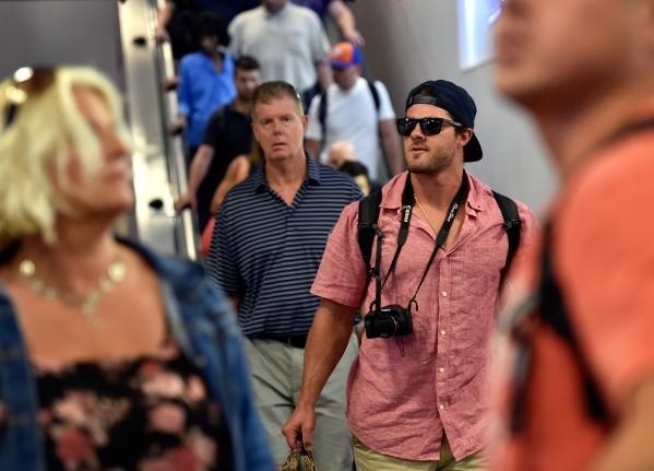Passengers arrive at McCarran International Airport on Friday, Sept. 4, 2015, in Las Vegas. (David Becker/Las Vegas Review-Journal)