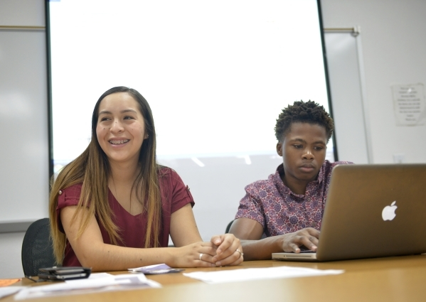 Brenda Romero, College of Southern Nevada student body president and Ocean Garner, a student body senator, work on initiatives for the upcoming school year at the Henderson Campus on Friday, Sept. ...
