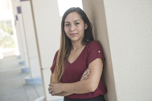 Brenda Romero poses at College of Southern Nevada Henderson campus Friday, Sept. 4, 2015. Romero is the newly appointed student body president for CSN and is undocumented. Jacob Kepler/Las Vegas R ...