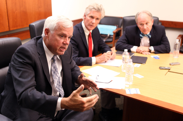 Nevada System of Higher Education Chancellor Dan Klaich, left, speaks to the Las Vegas Review-Journal Editorial Board at the Review-Journal offices Tuesday, Sept. 1, 2015. Looking on are Board of  ...