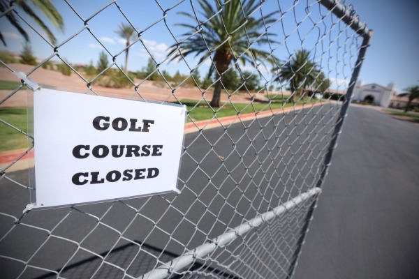 The entrance leading up to Silverstone Golf Club, 8600 Cupp Drive, is shown on Thursday, Sept. 3, 2015. A man handling security and inventory said the course was sold and it is unknown when it wil ...
