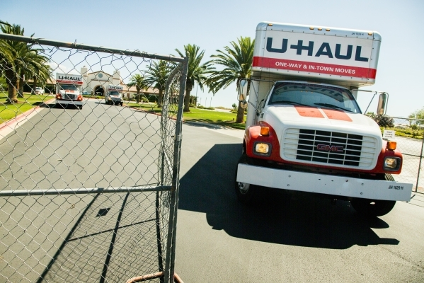A moving van is seen Thursday, Sept. 3, 2015 leaving Silverstone Golf Club, 8600 Cupp Drive, The 27 hole course has closed. (Jeff Scheid/Las Vegas Review-Journal) Follow him @jlscheid