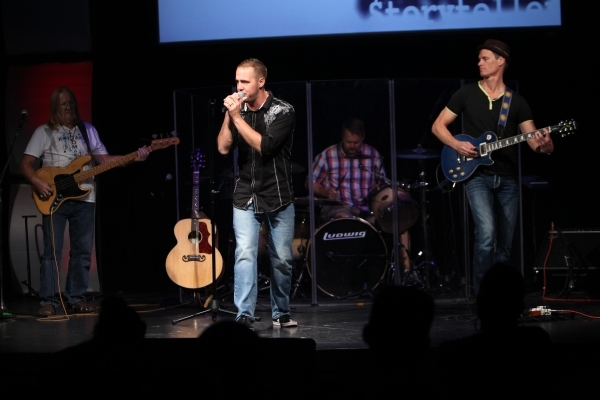 Church band members from left, Ted Champaign, Gavin Brawley, Scott Knight, and Mike Rayburn, play music during service at Verve church in Las Vegas Sunday, Sept. 9, 2015. ERIK VERDUZCO/LAS VEGAS R ...