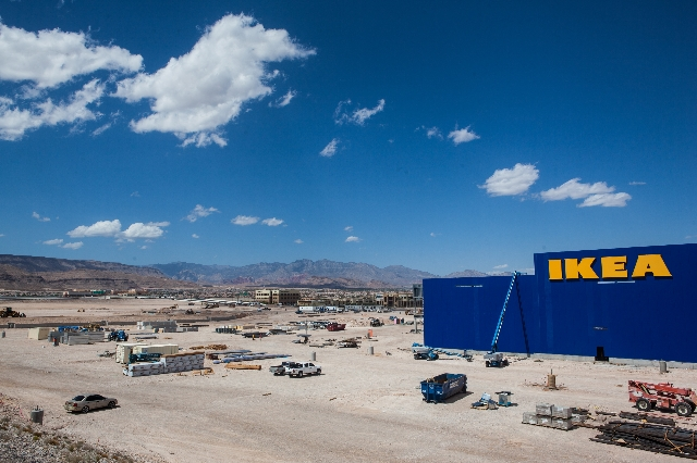 Letters for IKEA, a Sweden-based furniture seller, are shown as the property undergoes construction in Las Vegas on Friday, Sept. 4, 2015. The store is slated to open in the summer of 2016. Chase  ...