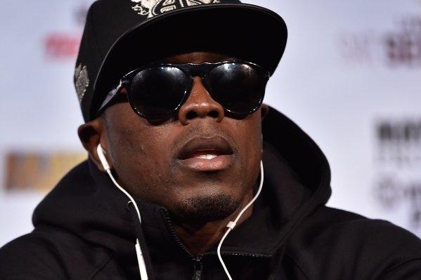 Boxer Andre Berto, looks on during the final news conference at MGM Grand hotel-casino in Las Vegas on Wednesday, Sept. 9, 2015. Berto is scheduled to fight Floyd Mayweather Jr. at MGM Grand Garde ...