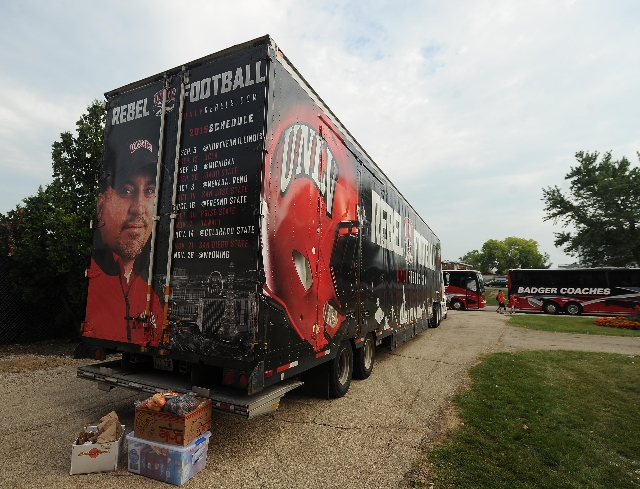 The UNLV equipment semi-truck is seen before the start of their NCAA Football game between the UNLV Rebels and the Northern Illinois Huskies at Huskie Stadium in DeKalb, Ill.  Saterday, Sept. 05,  ...
