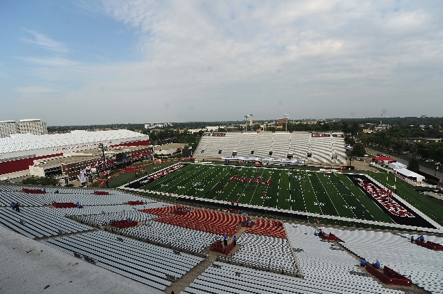 Huskie Stadium is seen before the start of their NCAA Football game between the UNLV Rebels and the Northern Illinois Huskies at Huskie Stadium in DeKalb, Ill.  Saterday, Sept. 05, 2015. Josh Holm ...