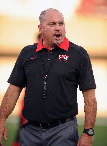 UNLV head coach Tony Sanchez is seen before the start of their NCAA Football game against the Northern Illinois Huskies at Huskie Stadium in DeKalb, Ill.  Saterday, Sept. 05, 2015. Josh Holmberg/L ...