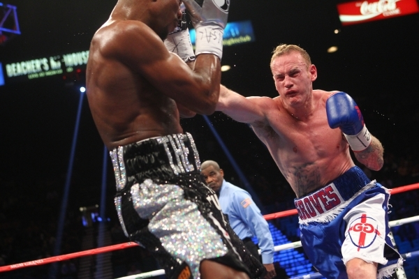 George Groves, right, hits Badou Jack during their World Boxing Council super middleweight title at the MGM Grand Garden Arena in Las Vegas on Saturday, Sept. 12, 2015. Chase Stevens/Las Vegas Rev ...