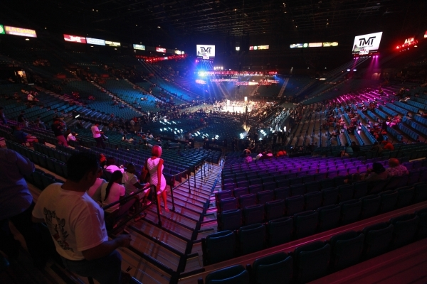 Attendees make their way into the MGM Grand Garden Arena as Sanjarbek Rakhmanov takes on Farkhad Sharipov in a junior welterweight fight in Las Vegas on Saturday, Sept. 12, 2015. Chase Stevens/Las ...