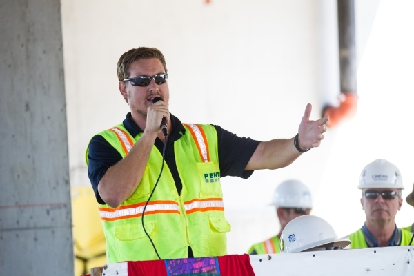 "Project Manager Paul Dutmer of the PENTA Building Group speaks before the ""topping off"" ceremony at the Lucky Dragon hotel-casino in Las Vegas on Friday, Sept. 11, 2015. Chase Stevens/La ..."