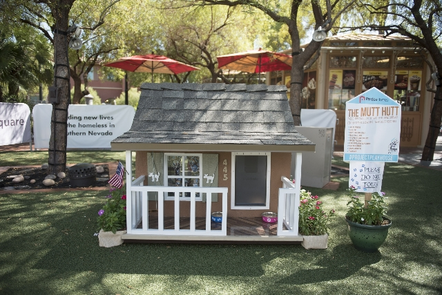 """The Mutt Hutt"" dog house is a raffle prize at the Southern Nevada Home Builders Association's raffle and pet adoption to benefit its HomeAid charity at Town Square Las Vegas in La ..."