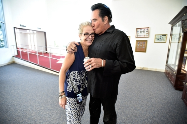 Entertainer Wayne Newton with his wife, Kathleen Newton, share a moment as they tour the museum at Casa de Shenandoah on Monday, Sept. 14, 2015, in Las Vegas. The ranch at Sunset and Pecos roads i ...