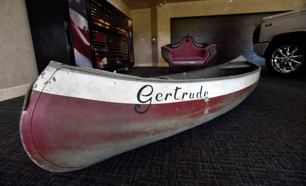 """The canoe from the movie """"On Golden Pond"""" is displayed inside the museum at Casa de Shenandoah on Monday, Sept. 14, 2015, in Las Vegas. The ranch at Sunset and Pecos roads in Las Vegas i ..."""