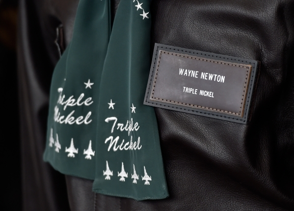 A flight jacket personalized for Wayne Newton is seen displayed at the museum at Casa de Shenandoah on Monday, Sept. 14, 2015, in Las Vegas. The ranch at Sunset and Pecos roads in Las Vegas is sch ...