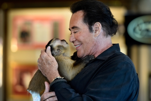 Wayne Newton and his pet capuchin monkey, Boo, spend a moment together while Newton tours the museum at Casa de Shenandoah on Monday, Sept. 14, 2015, in Las Vegas. The ranch at Sunset and Pecos ro ...