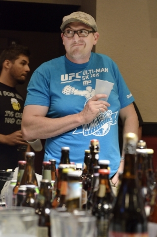 Clyde Lipp has a less-than-enthusiastic response to some aspects of a beer he sampled at a meeting of the Southern Nevada Ale Fermenting Union at Aces and Ales at 3740 S. Nellis Blvd. in Las Vegas ...