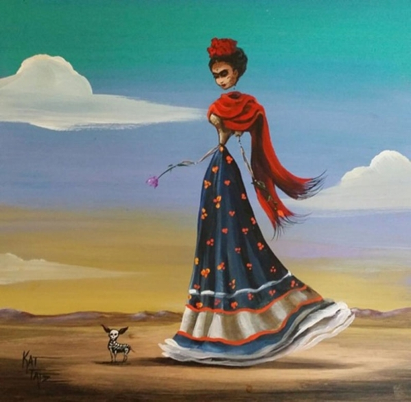 """""""Frida"""" by Kat Tats is one of several works set to be on display at EKlectica Gallery in the arts Factory,107 E. Charleston Blvd. on First Friday, Oct 2. 2015. Visit tinyurl.com/eklectic ..."""