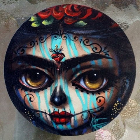 """""""Circle Day of the Dead"""" by Kat Tats is one of several works set to be on display at EKlectica Gallery in the arts Factory,107 E. Charleston Blvd. on First Friday, Oct 2. 2015. Visit tin ..."""