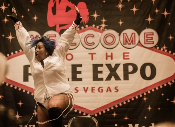 Burlesque dancer Mone't performs during the  Pole Expo 2015 inside the Hard Rock Hotel & Casino, 4455 Paradise Road,  on Friday, Sept. 11,2015. Nearly 2,000 people are attending the four ...
