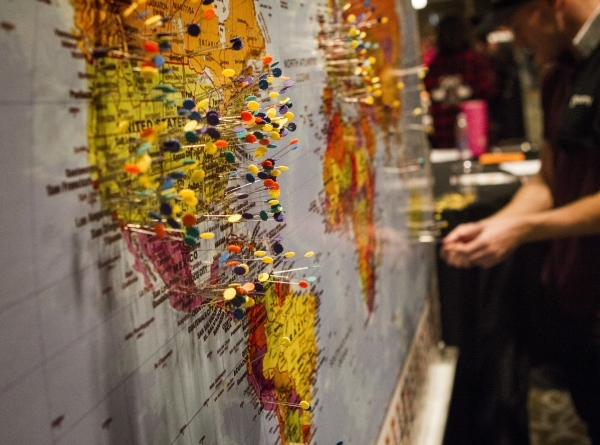 Pins are marked on a map from where attendees from during the Pole Expo 2015 inside the Hard Rock Hotel & Casino, 4455 Paradise Road,  on Friday, Sept. 11,2015. Nearly 2,000 people are attendi ...