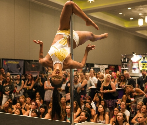 Dominique Guillen performs during Pole Expo 2015 inside the Hard Rock Hotel & Casino, 4455 Paradise Road,  on Friday, Sept. 11,2015. Nearly 2,000 people are attending the four day event pole d ...