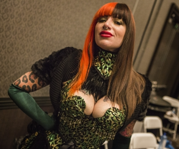 Burlesque performer Kassy Luvjoy poises for a photo before performing during Pole Expo 2015 inside the Hard Rock Hotel & Casino, 4455 Paradise Road,  on Friday, Sept. 11,2015. Nearly 2,000 peo ...