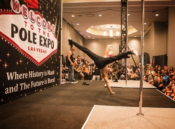 The Aussie Hunks dance troupe perform during the Pole Expo 2015 inside the Hard Rock Hotel & Casino, 4455 Paradise Road,  on Friday, Sept. 11,2015. Nearly 2,000 people are attending the four d ...