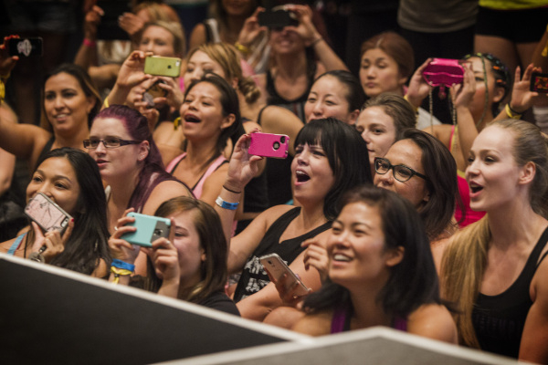 Women cheer on the Aussie Hunks dance troupe during the Pole Expo 2015 inside the Hard Rock Hotel & Casino, 4455 Paradise Road,  on Friday, Sept. 11,2015. Nearly 2,000 people are attending the ...