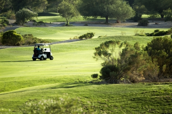 A golfer drives the course at Badlands Golf Course, 9119 Alta Drive, on Thursday, Sept. 10,2015.EHB Companies, the developers behind high-end retail center Tivoli Village, confirmed it had bought  ...