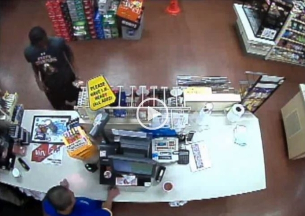 Patrick Harper is seen on surveillance video at the am/pm store at Ann Road and North 5th in North Las Vegas.