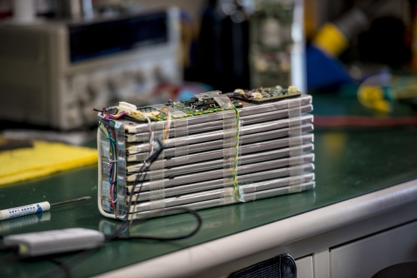 A battery for an electric bicycle is seen at Rechargeable Power Energy in Las Vegas on Tuesday, Sept. 15, 2015. Joshua Dahl/Las Vegas Review-Journal
