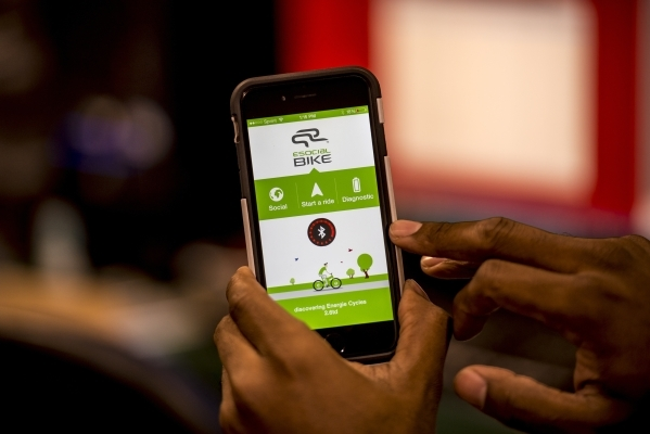 An app that connects with electric bicycles is shown at Rechargeable Power Energy in Las Vegas on Tuesday, Sept. 15, 2015. Joshua Dahl/Las Vegas Review-Journal