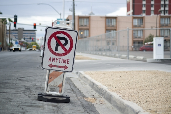 Parking is restricted in downtown Las Vegas on 7th street near Stewart Avenue in preparation for the Life is Beautiful Music and Art Festival on Tuesday, Sept. 15, 2015. Parsons Place, a transitio ...