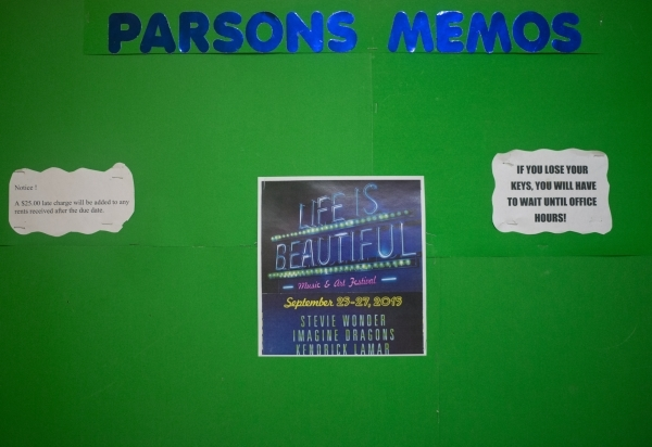 A bulletin board inside Parsons Place, a transitional housing complex, features a Life is Beautiful poster in downtown Las Vegas on Tuesday, Sept. 15, 2015. The festival runs Sept. 25-27. Daniel C ...